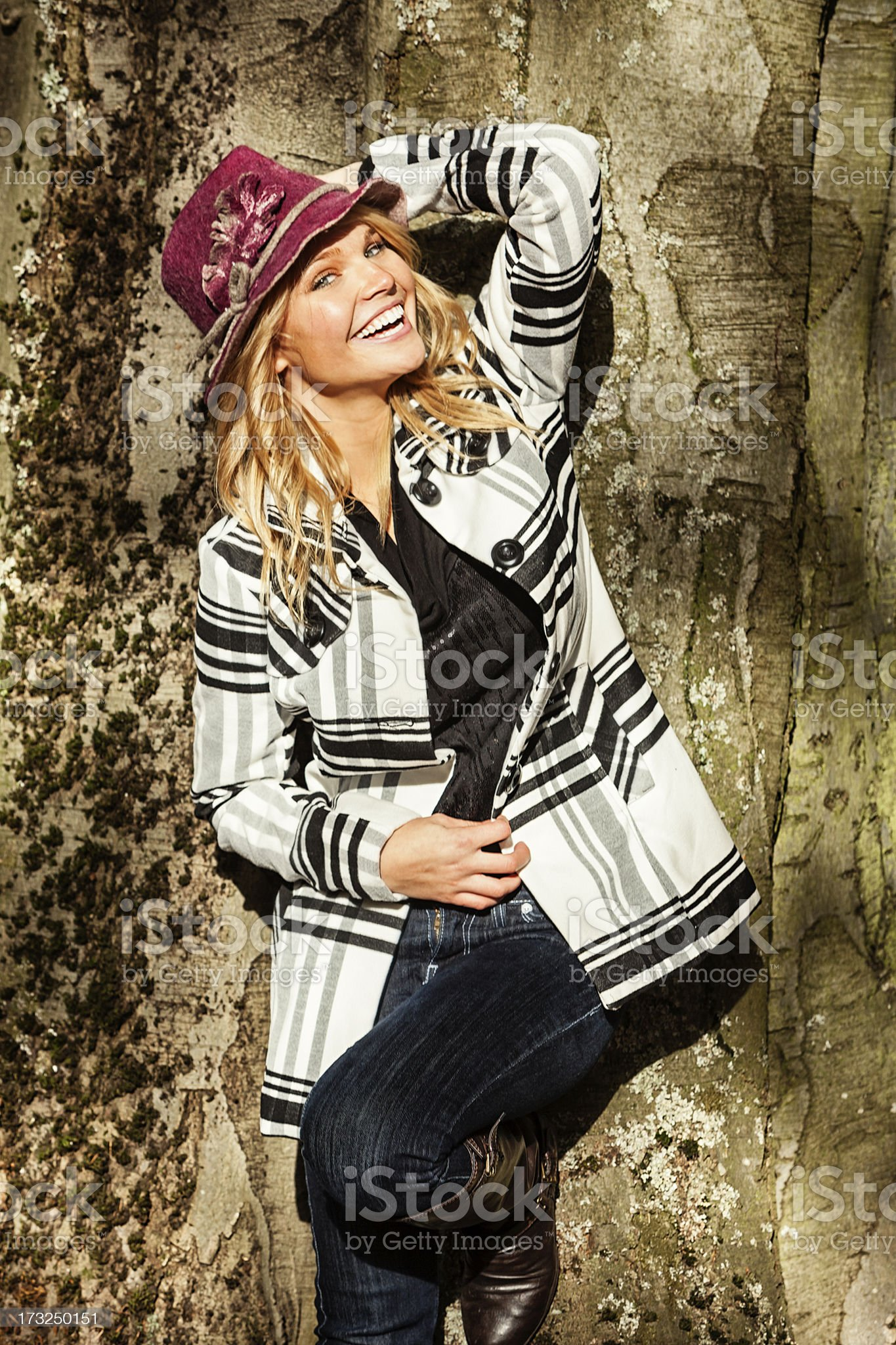 Attractive Young Woman in Fall Fashion royalty-free stock photo