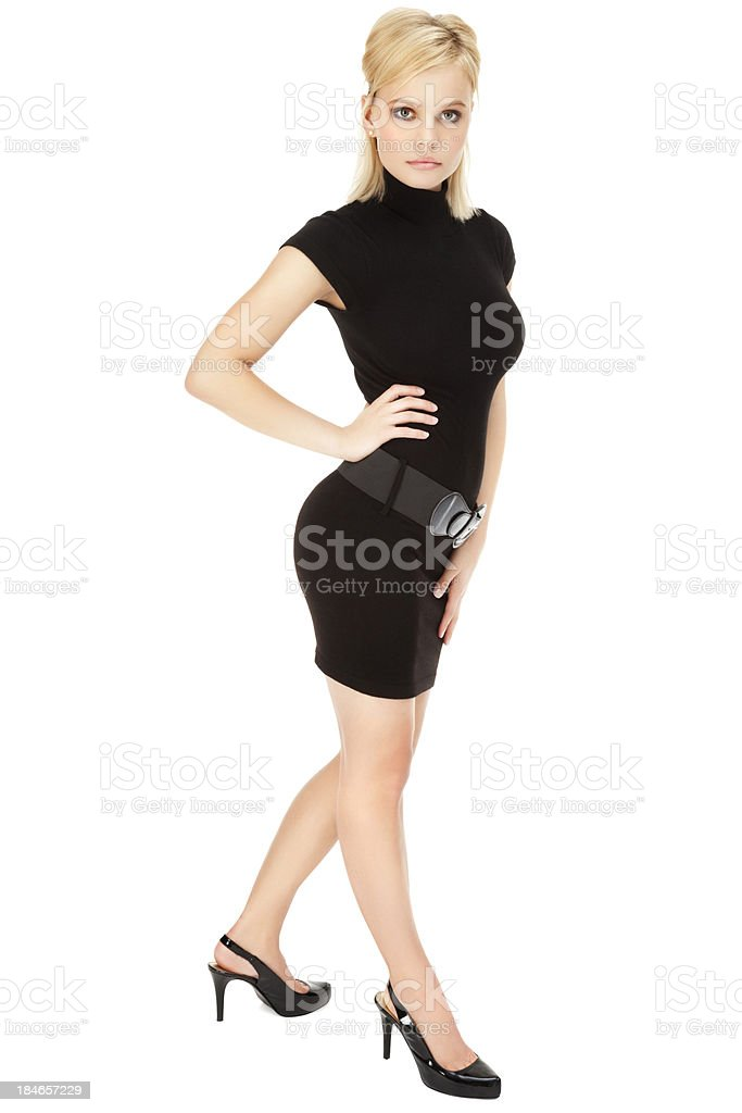 Attractive Young Woman in Little Black Dress stock photo