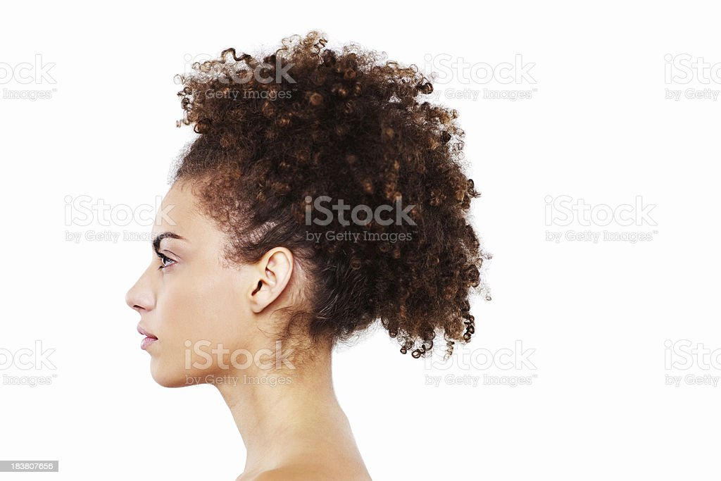 Attractive Young Woman In Profile - Isolated stock photo