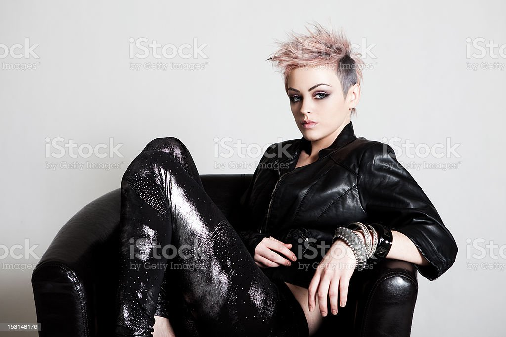 Attractive Young Woman in Punk Attire royalty-free stock photo