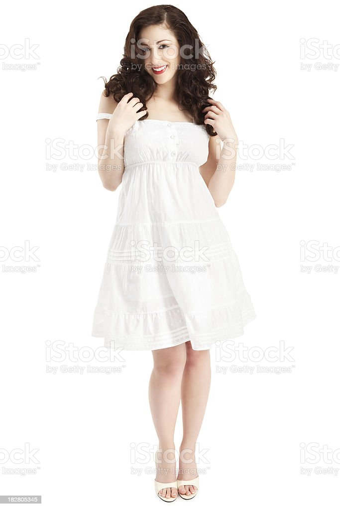 Attractive Young Woman in White Sun Dress royalty-free stock photo