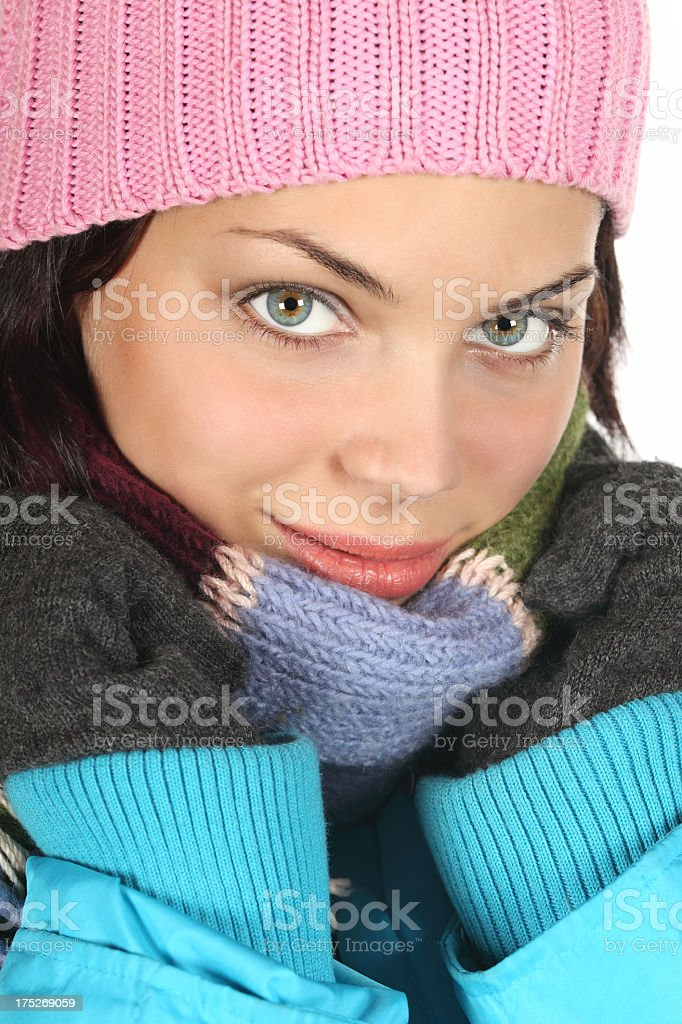 Attractive young woman in winter time royalty-free stock photo