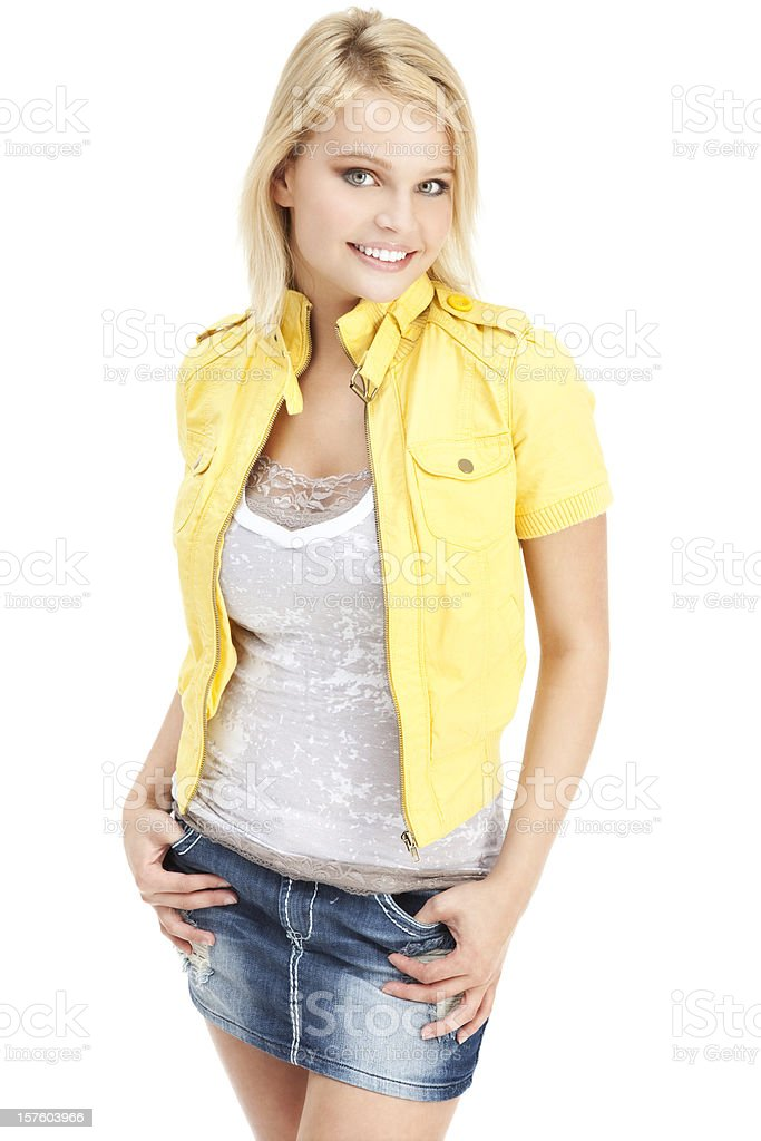 Attractive Young Woman in Yellow Jacket royalty-free stock photo