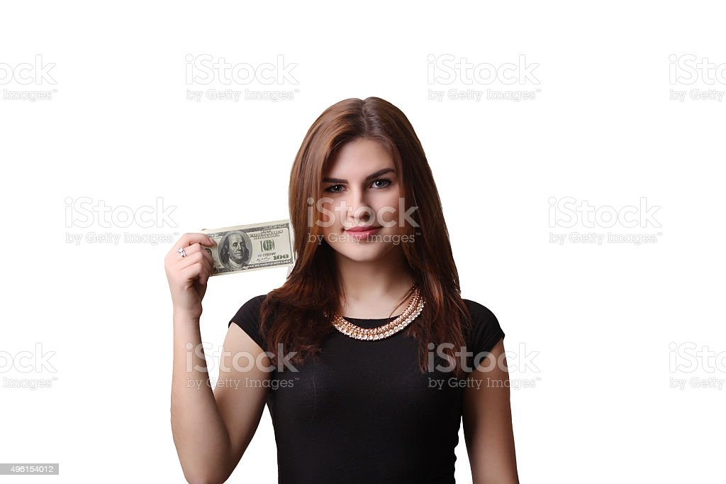attractive young woman is holding royalty-free stock photo