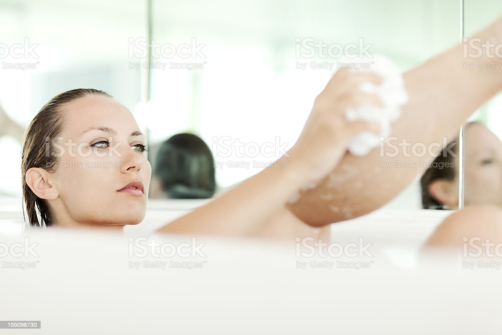 Attractive Young Woman Taking Bath royalty-free stock photo