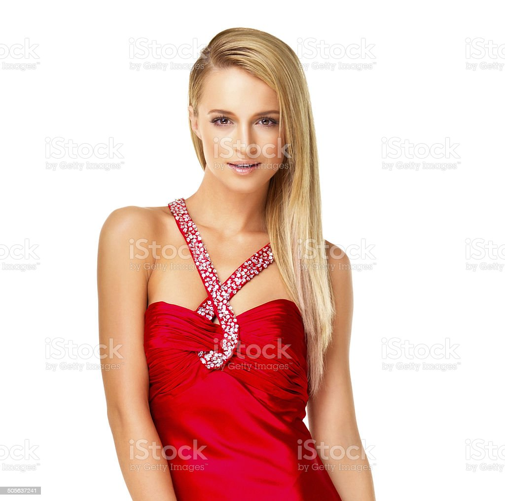 Attractive young woman wearing evening dress stock photo