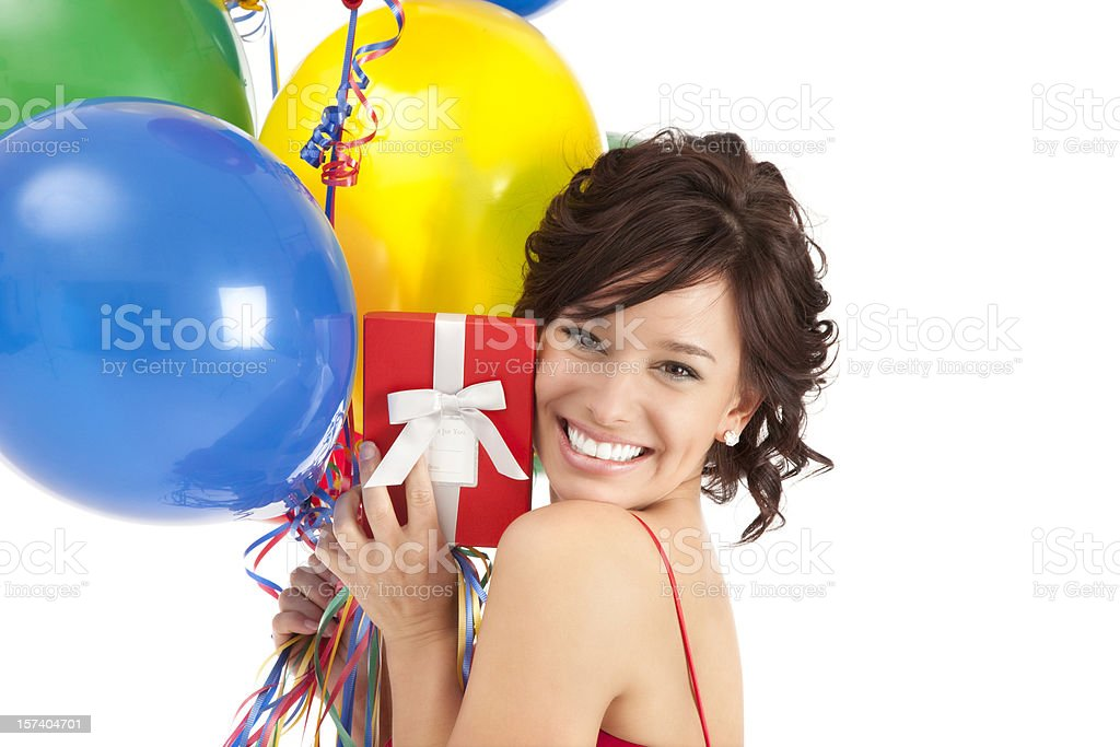 Attractive Young Woman with Birthday Balloons and Red Gift Box royalty-free stock photo