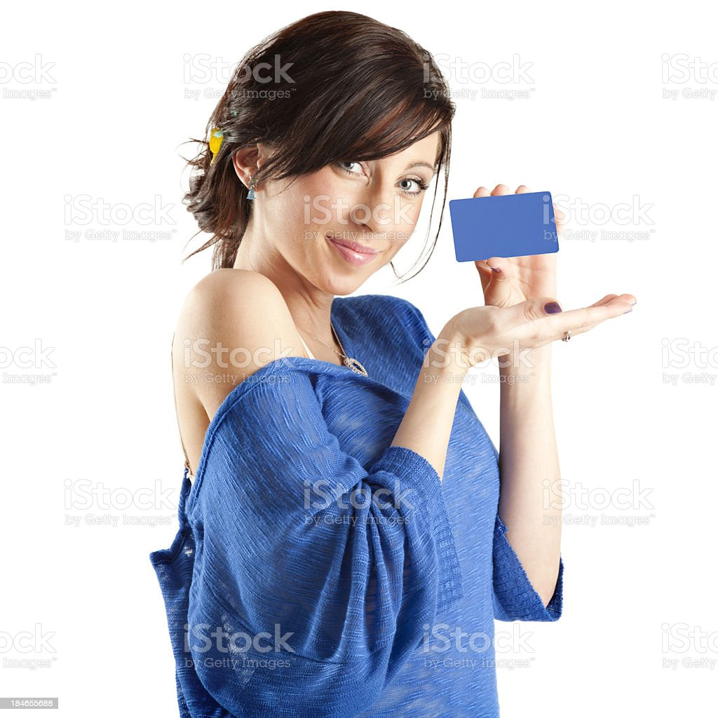 Attractive Young Woman with Blank Blue Credit Card stock photo
