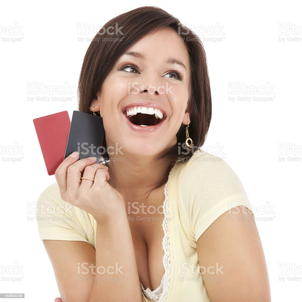 Attractive Young Woman with Blank Credit Cards royalty-free stock photo