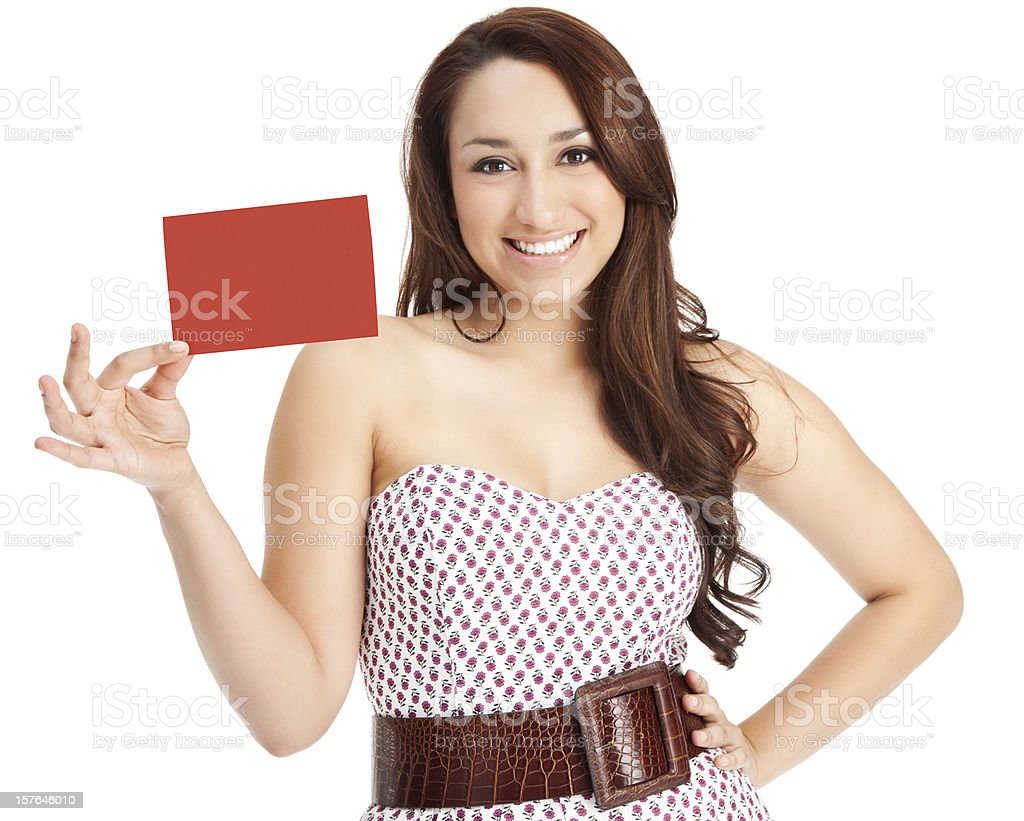 Attractive Young Woman with Blank Gift Card royalty-free stock photo