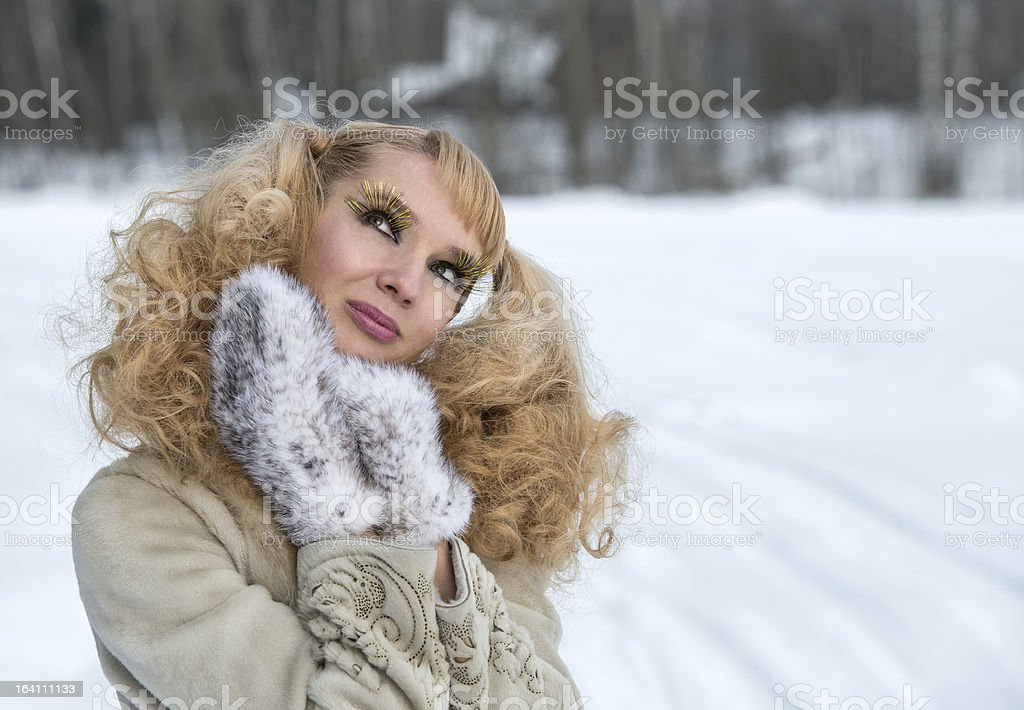 Attractive young woman with exaggerated cilia stock photo