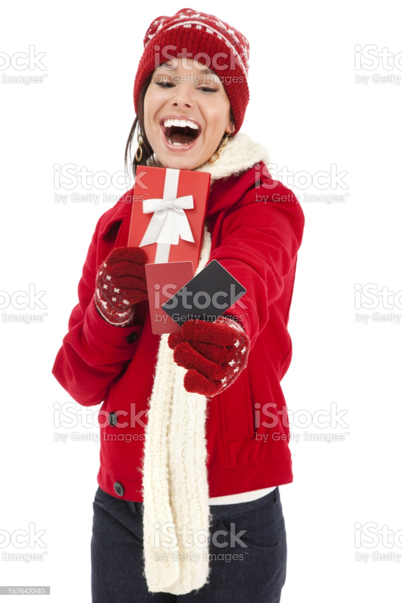 Attractive Young Woman with Gift Cards and Box royalty-free stock photo