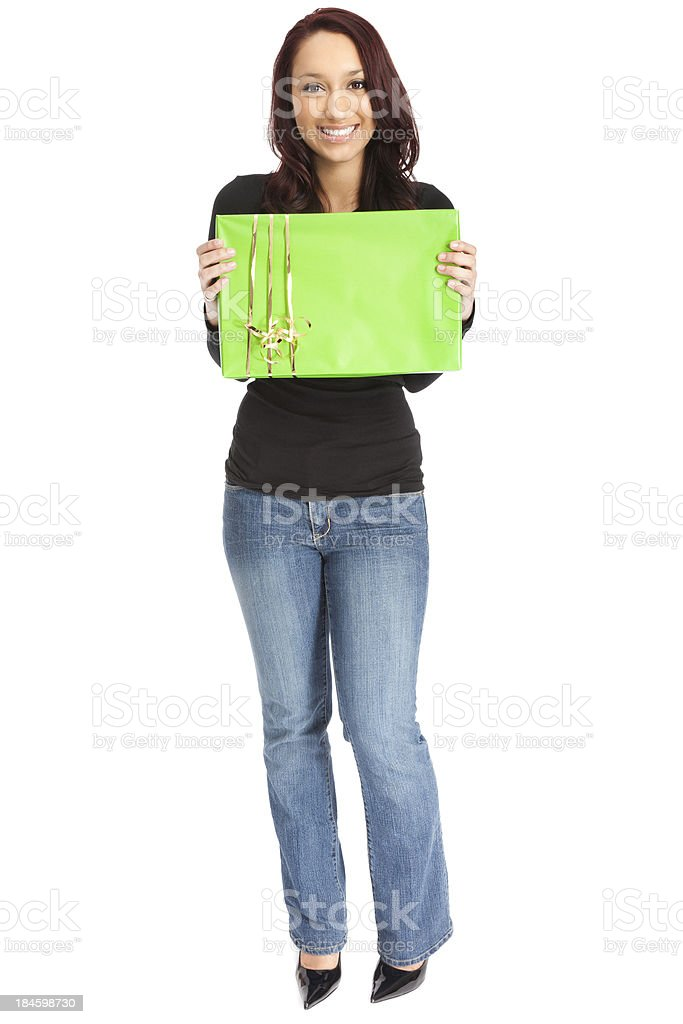 Attractive Young Woman with Green Gift Box royalty-free stock photo