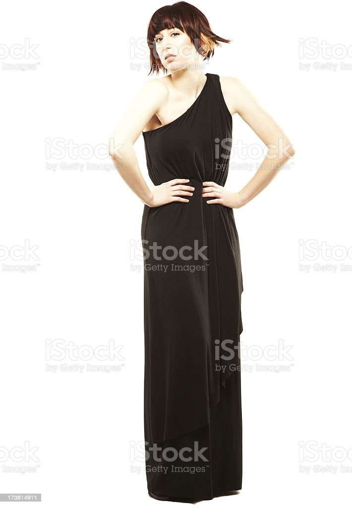 Attractive young woman with hands on her hips stock photo