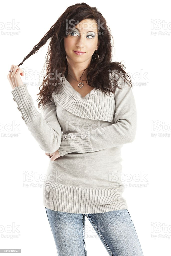 Attractive Young Woman with Long Curly Brown Hair royalty-free stock photo