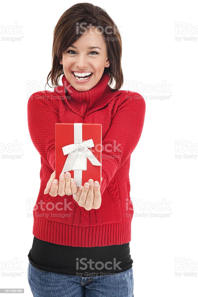 Attractive Young Woman with Red Gift Box royalty-free stock photo