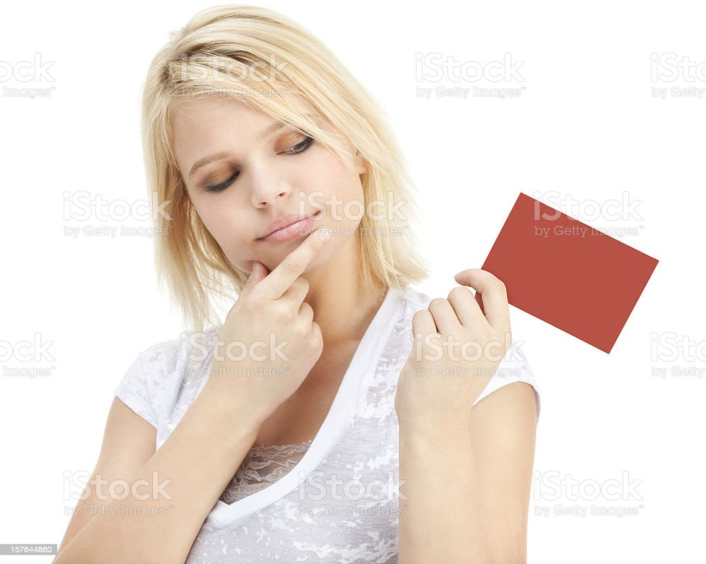Attractive Young Woman with Red Gift Card royalty-free stock photo