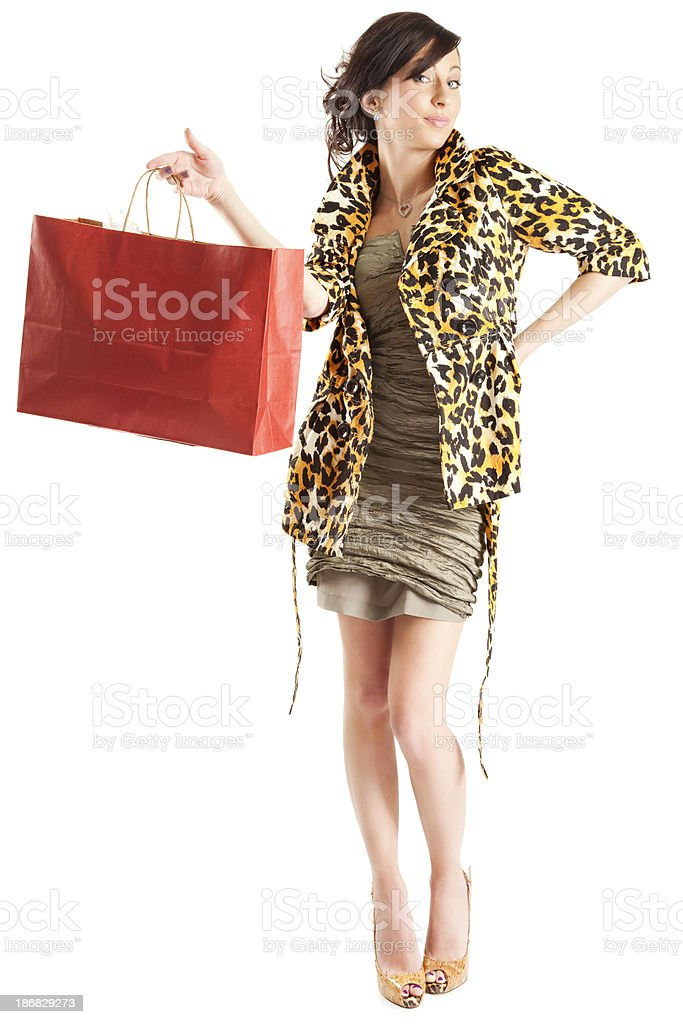 Attractive Young Woman with Red Shopping Bag royalty-free stock photo