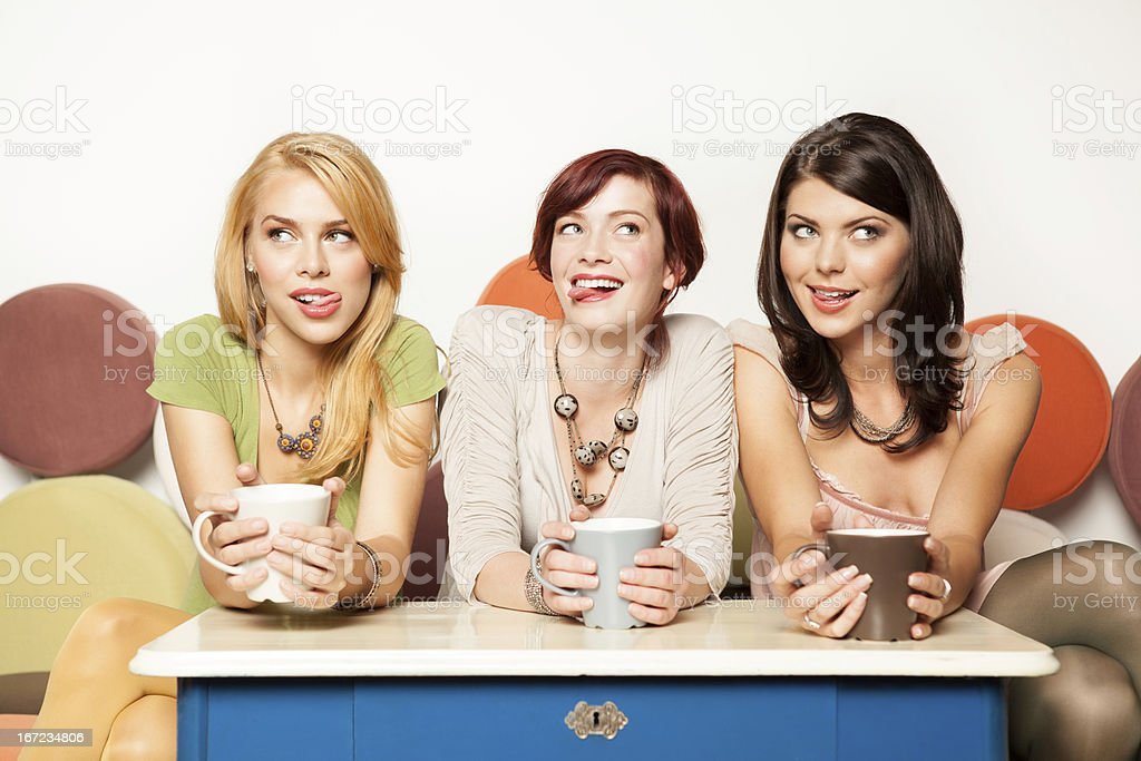 attractive young women, kinky gesture royalty-free stock photo