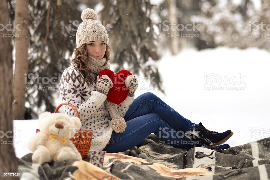 Attractive,beautiful,cute,pretty girl hold toy,girl with heart stock photo