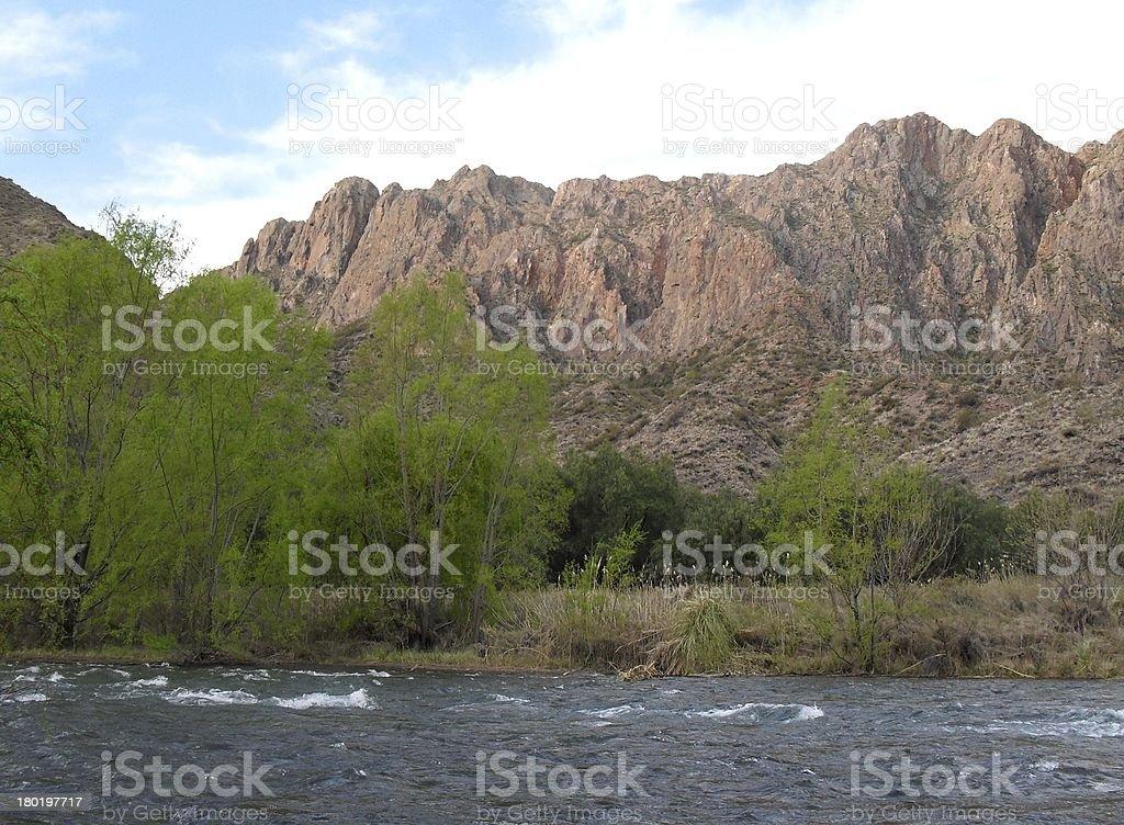 Atuel River in San Rafael Valley stock photo