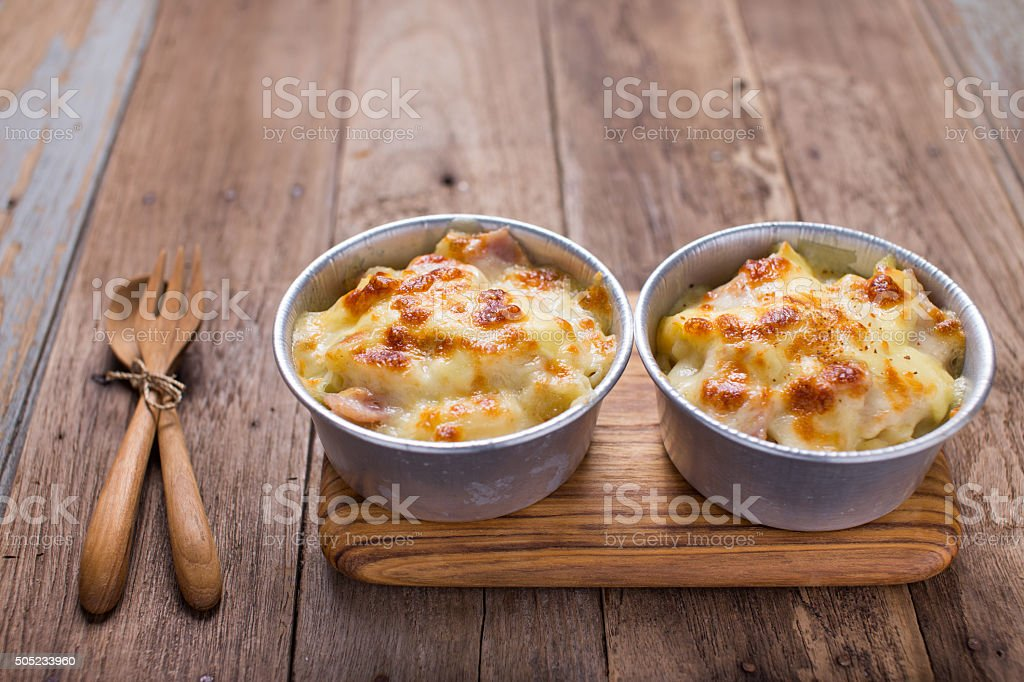 Au Gratin cheesy pasta stock photo
