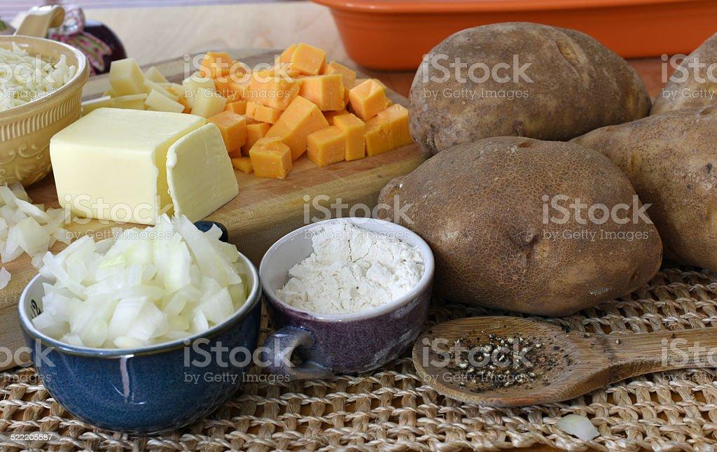 Au Gratin Potato Ingredients royalty-free stock photo