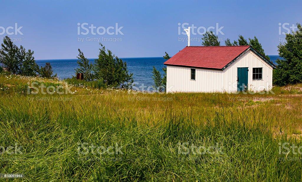 Au Sable Light Station, Pictured Rocks National Lake Shore stock photo