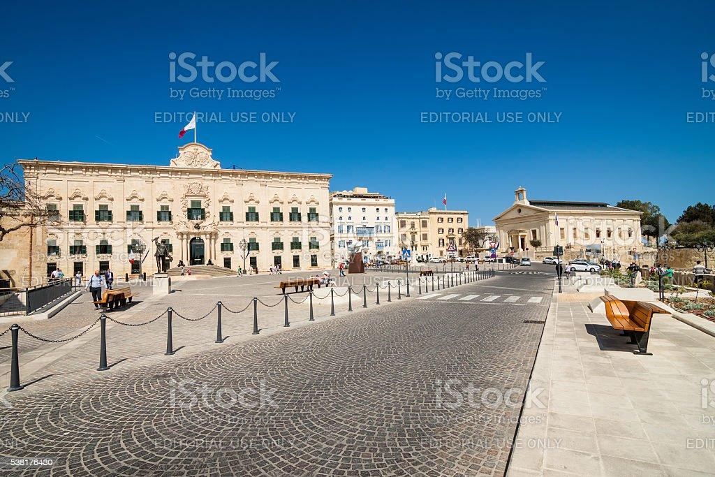 Valletta, Malta - May 05, 2016: Auberge de Castille stock photo