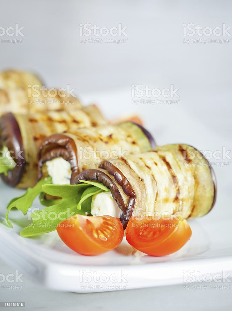 Aubergine rolls royalty-free stock photo