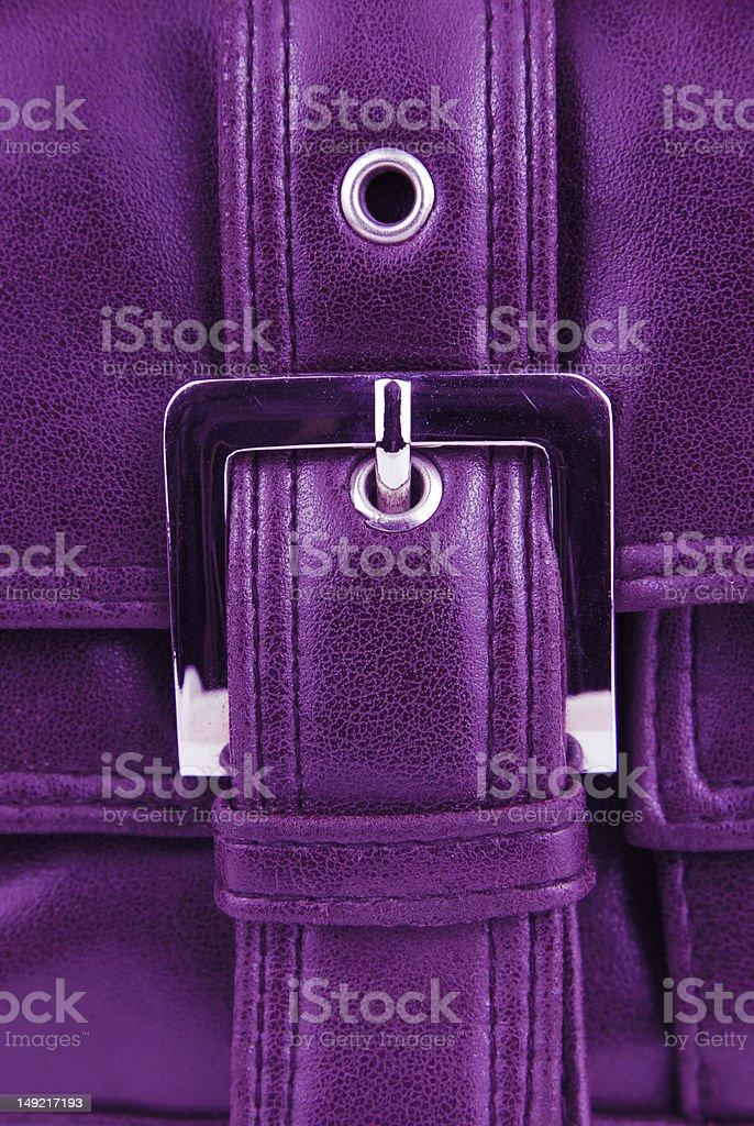 aubergine violet color leather bag stock photo