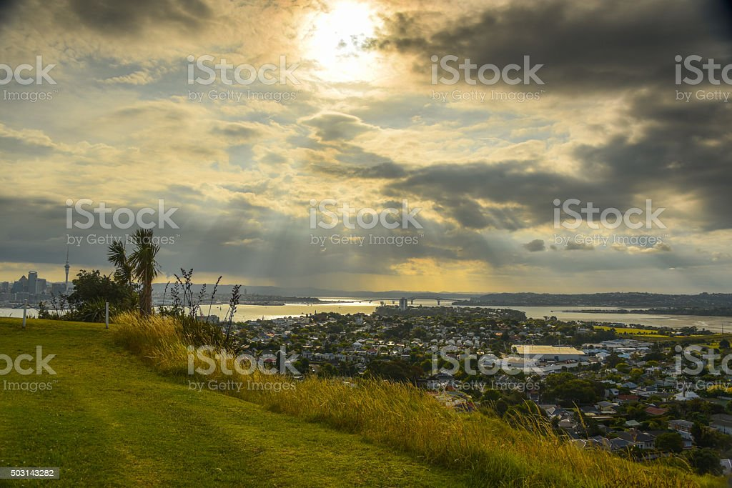Auckland and North Shore view from North Head stock photo