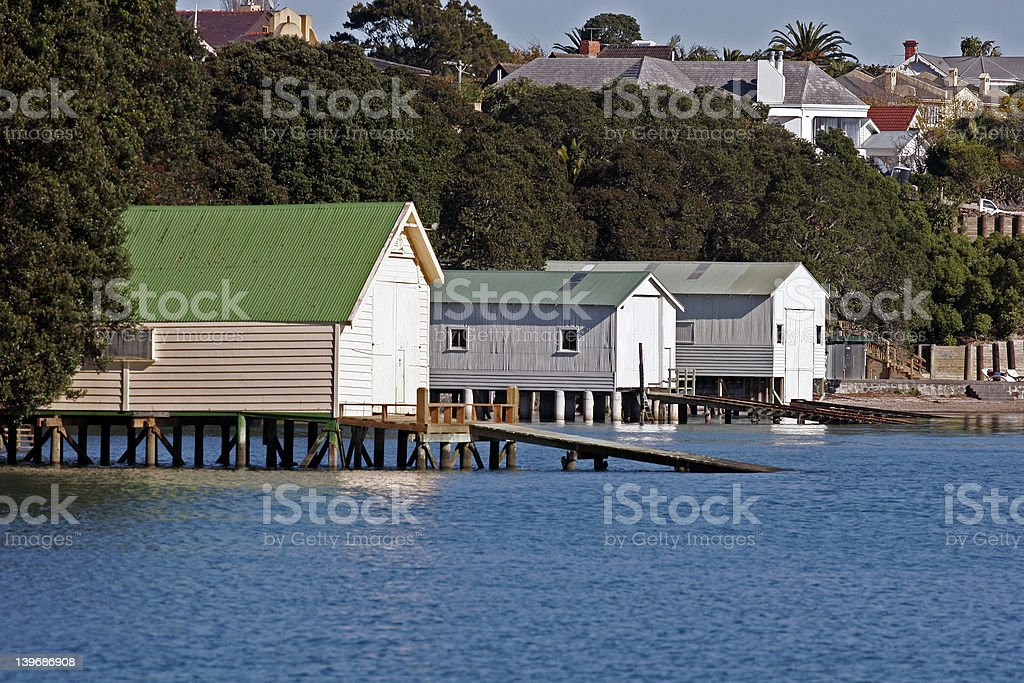 Auckland Boatsheds royalty-free stock photo