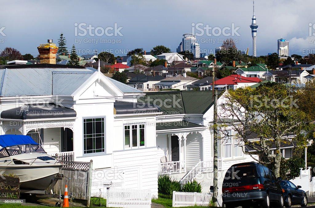 Auckland CBD skyline as seen from Devonport New Zealand stock photo
