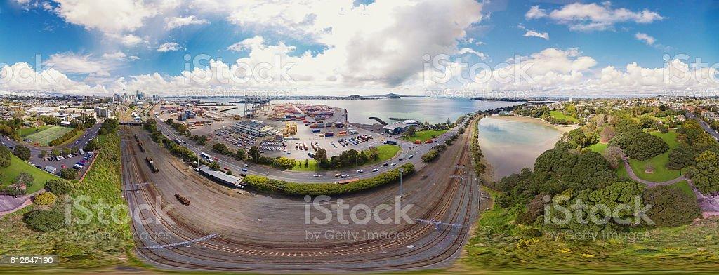Auckland city 360 Panorama. stock photo