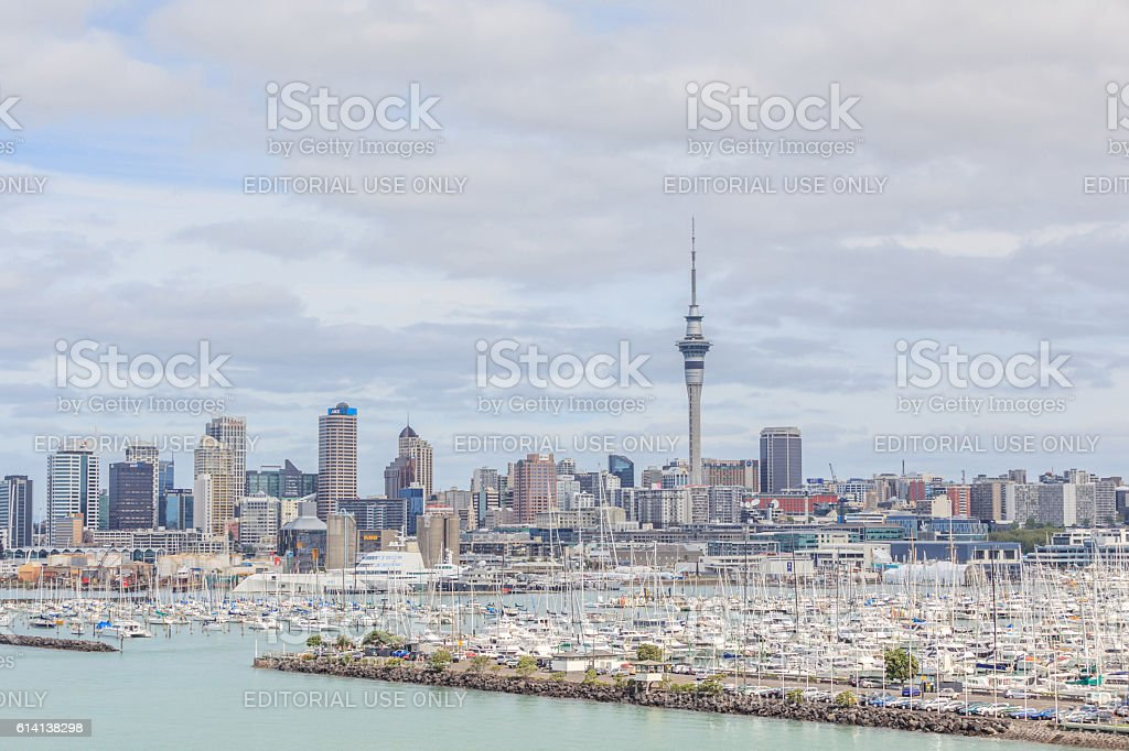 Auckland, New Zealand- December 10, 2013. Auckland city and sky stock photo