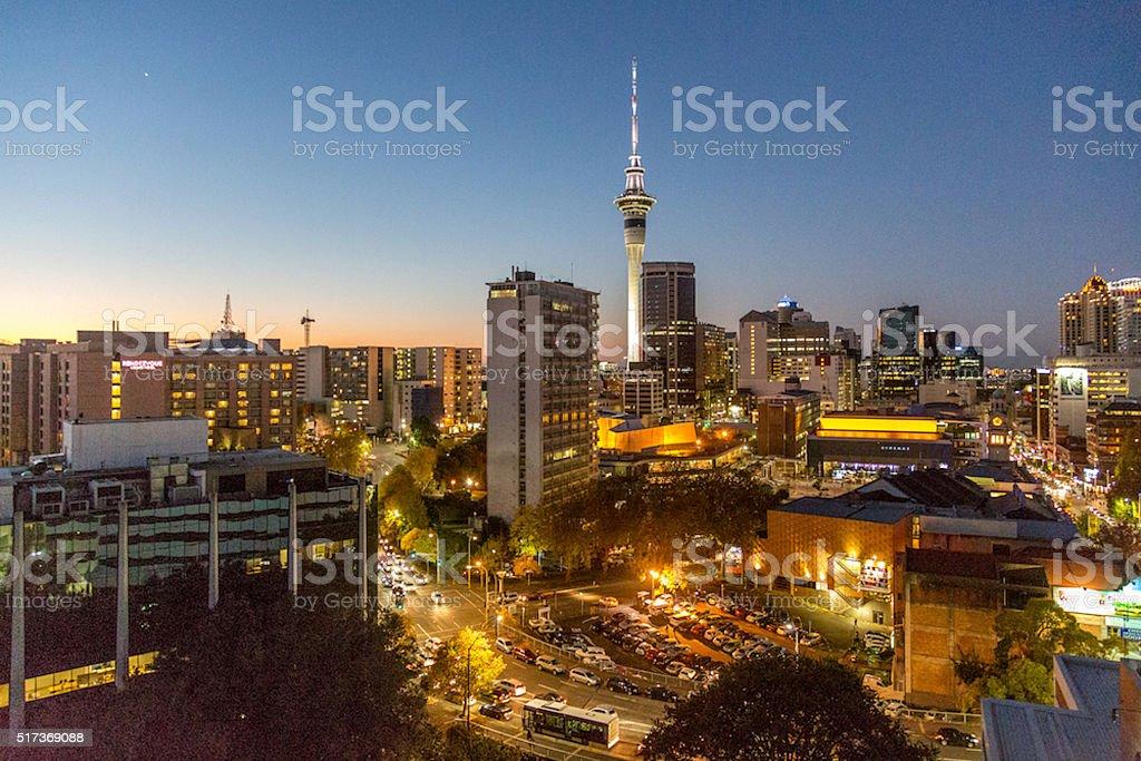 Auckland City at night stock photo
