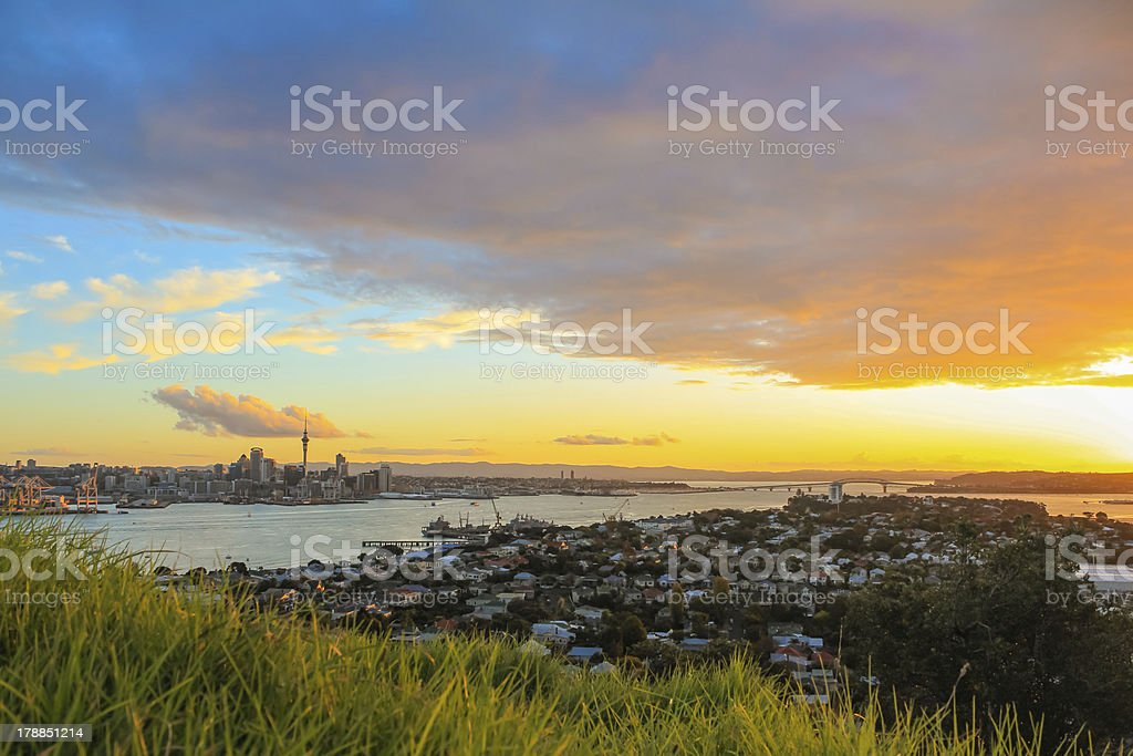 Auckland City at sunset royalty-free stock photo