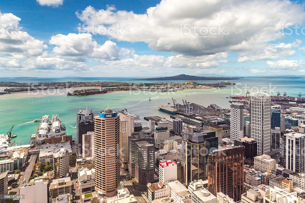 Auckland city bird's-eye view stock photo
