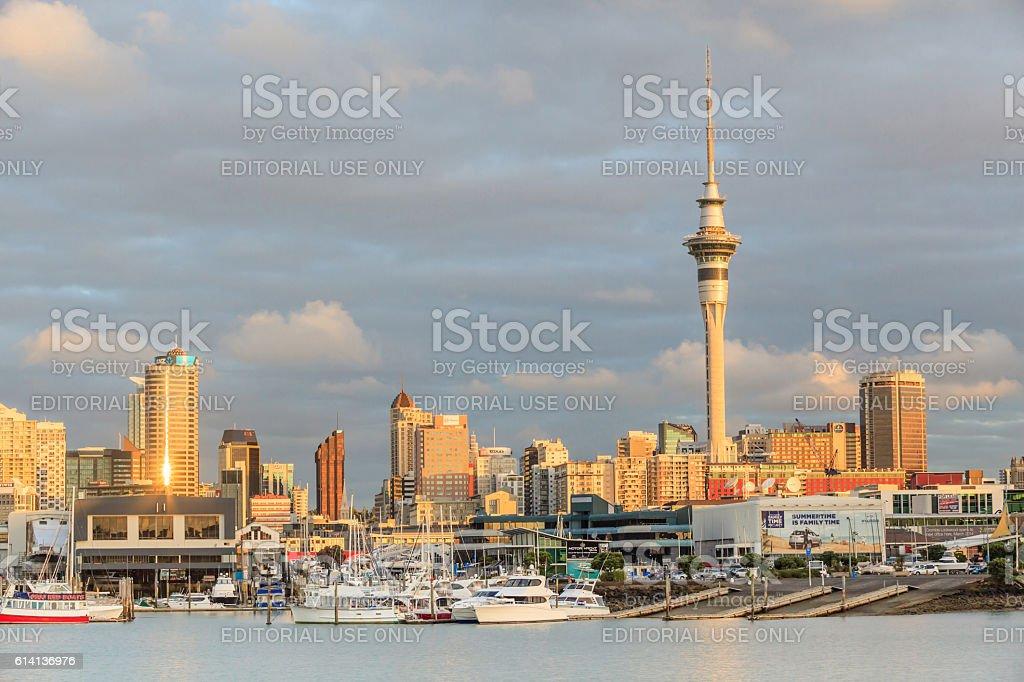 Auckland, New Zealand- December 9, 2013. Auckland city sky tower. stock photo
