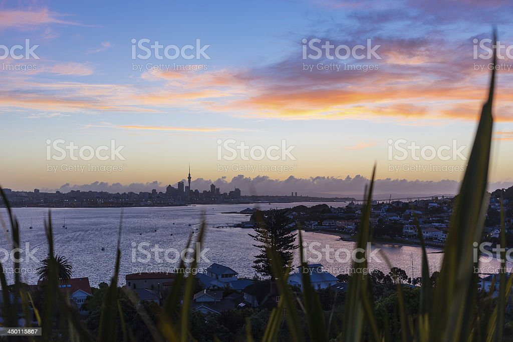 Auckland City sunset stock photo