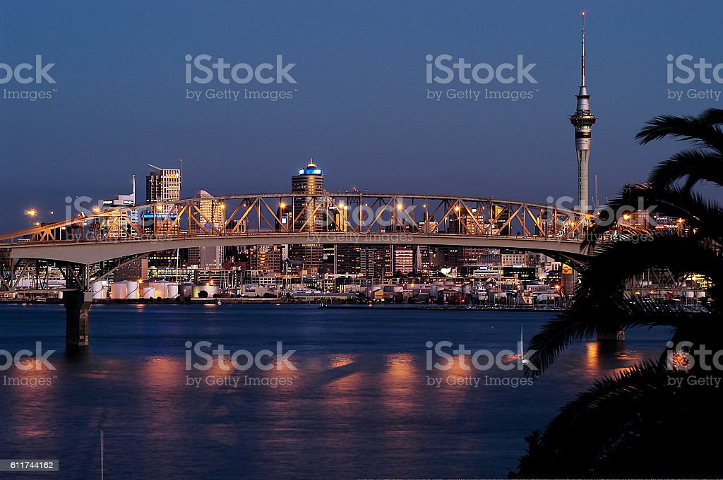 Auckland city view from North Shore stock photo