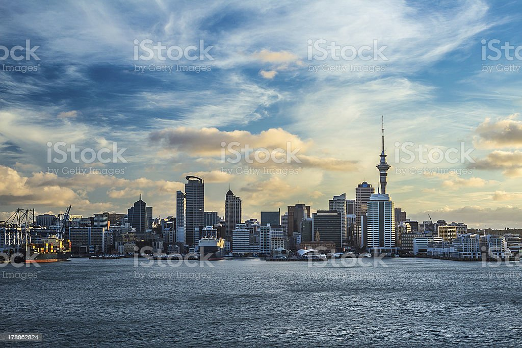 Auckland city with dramatic sky stock photo