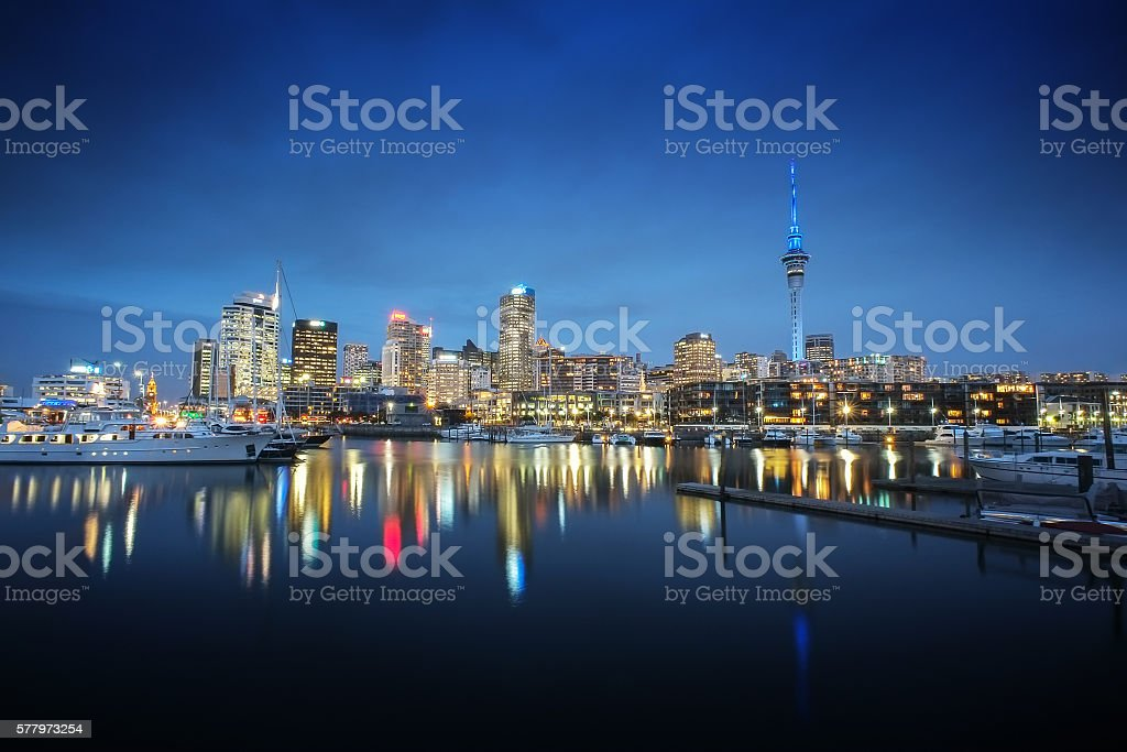 Auckland cityscape at night stock photo