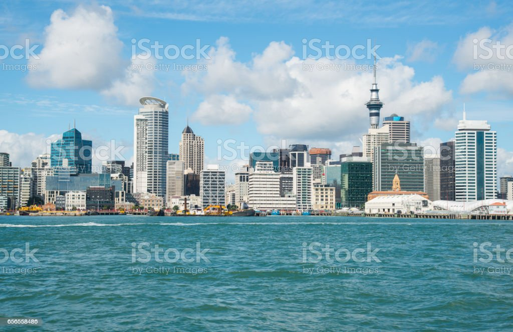 Auckland cityscape the biggest cities in North Island view from Devonport, New Zealand. stock photo