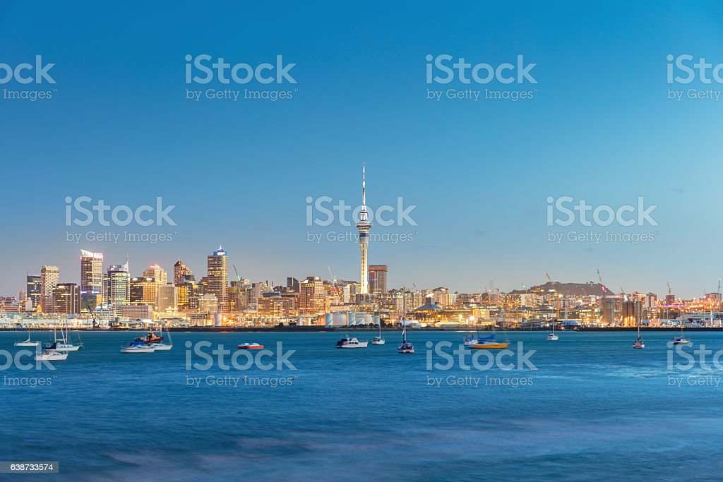 Auckland Cityscape Twilight New Zealand stock photo