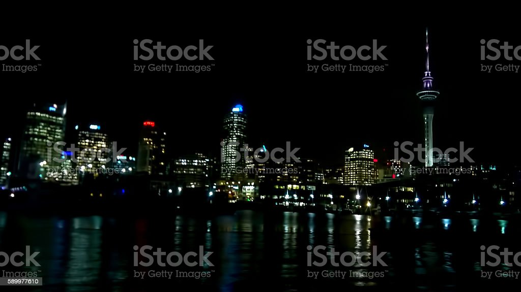 Auckland In City Night stock photo