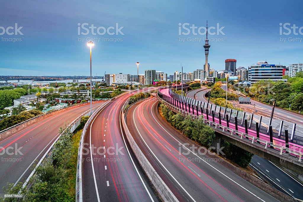 Auckland Light Path Bicycle Lane Highway Traffic New Zealand stock photo