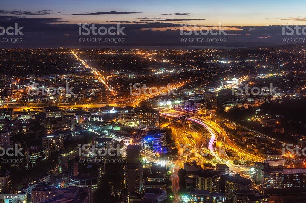 auckland night view stock photo
