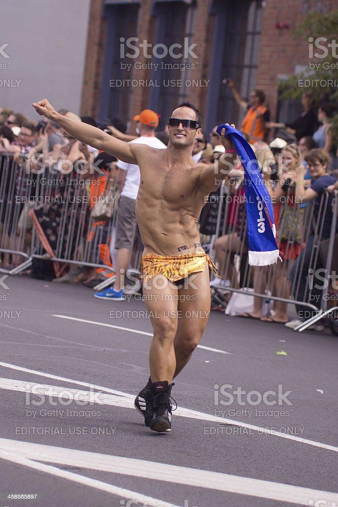 Auckland Pride Parade: Caveman stock photo